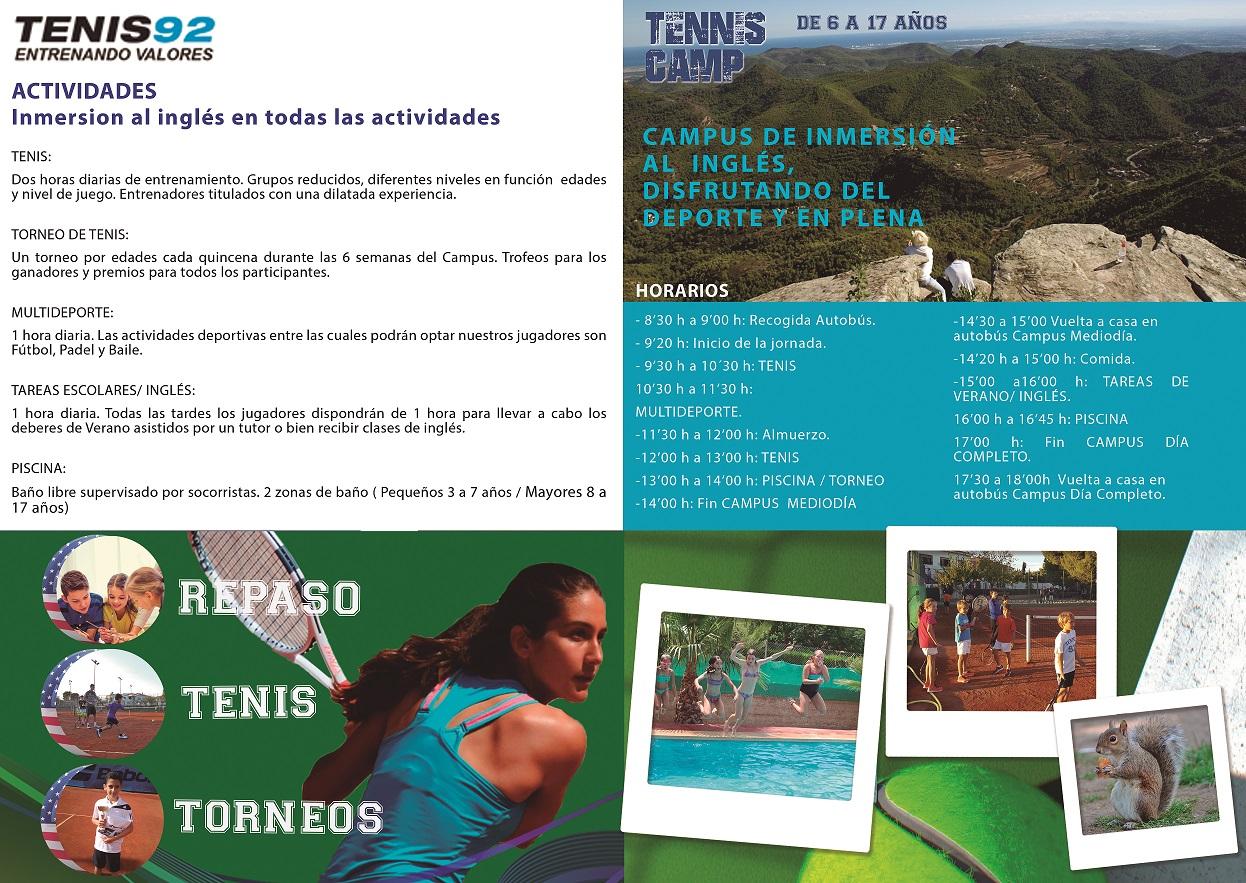 Academia Tenis 92. Campus tenis verano en náquera valencia con ingles intensivo